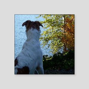 "Borzoi Lake View Square Sticker 3"" x 3"""