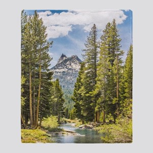Mountain River Scene Throw Blanket