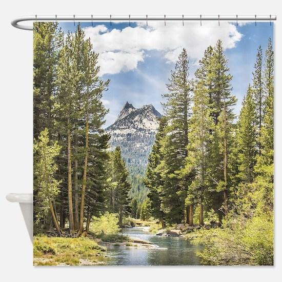 Mountain River Scene Shower Curtain