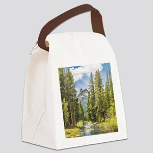 Mountain River Scene Canvas Lunch Bag
