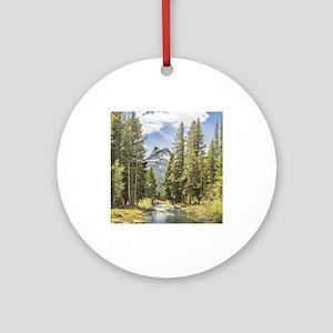 Mountain River Scene Ornament (Round)