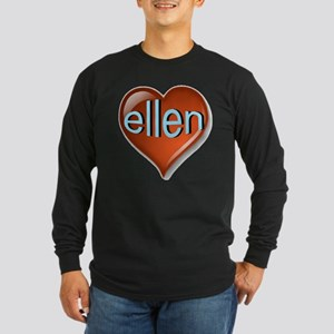 ellen Heart Long Sleeve Dark T-Shirt