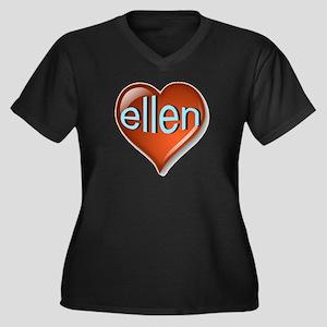 ellen Heart Women's Plus Size V-Neck Dark T-Shirt