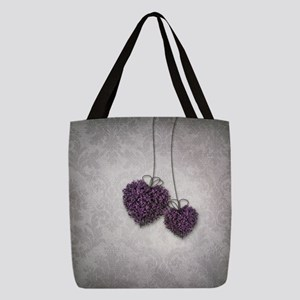 Purple Hearts Polyester Tote Bag