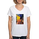 Cafe & Rottweiler Women's V-Neck T-Shirt