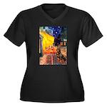 Cafe & Rottweiler Women's Plus Size V-Neck Dark T-
