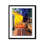Cafe & Rottweiler Framed Panel Print