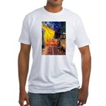 Cafe & Rottweiler Fitted T-Shirt