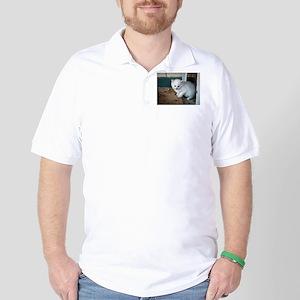 White Kitten Golf Shirt