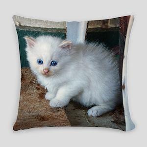 White Kitten Everyday Pillow