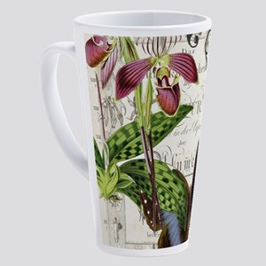 Orchid and butterfly print 17 oz Latte Mug
