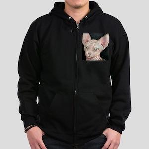Cat 412 sphynx Zip Hoodie (dark)