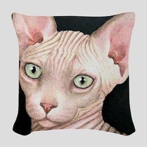 Cat 412 sphynx Woven Throw Pillow
