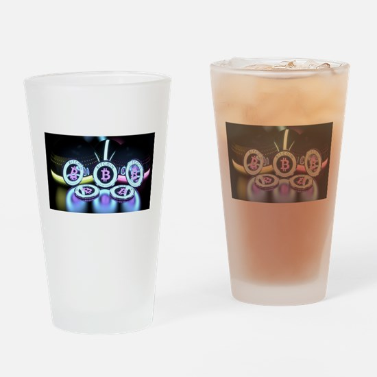 Bitcoin Tron Design Drinking Glass