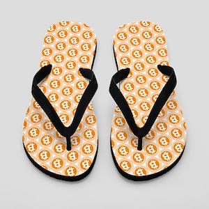 Bitcoin All-Over Logo Orange Flip Flops