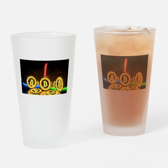 Bitcoin Tron Design Gold Drinking Glass