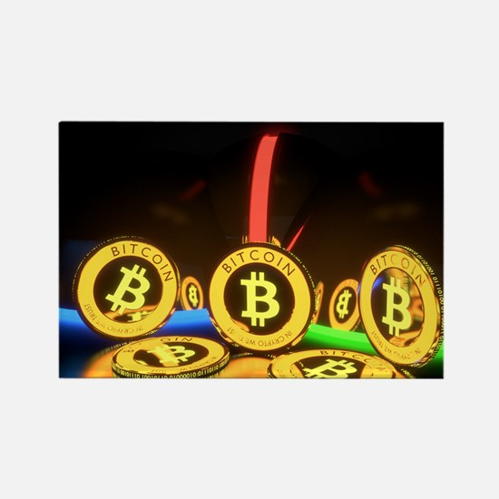 Bitcoin Tron Design Gold Magnets