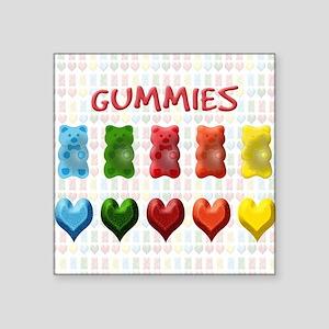 "Gummy Bears, Jelly Hearts Square Sticker 3"" x 3"""