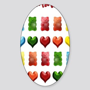 Gummy Bears, Jelly Hearts Sticker (Oval)