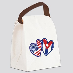 USA and Cuba Patriotic Flag Heart Canvas Lunch Bag