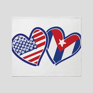 USA and Cuba Patriotic Flag Hearts Throw Blanket