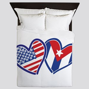 USA and Cuba Patriotic Flag Hearts Queen Duvet
