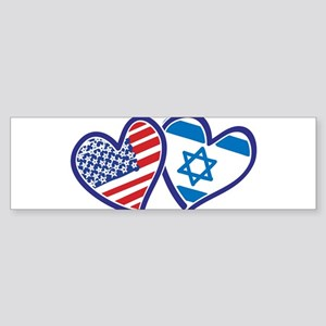 USA and Israel Flag Hearts Sticker (Bumper 50 pk)