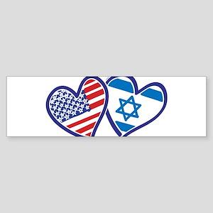 USA and Israel Flag Hearts Sticker (Bumper 50 pk)