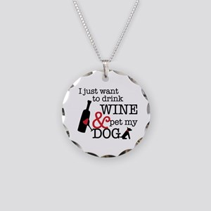 Wine And Dog Necklace Circle Charm