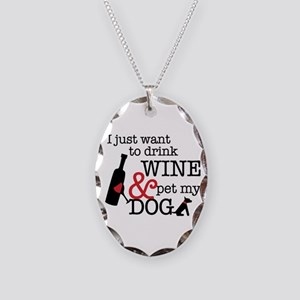 Wine And Dog Necklace Oval Charm