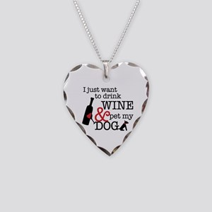 Wine And Dog Necklace Heart Charm