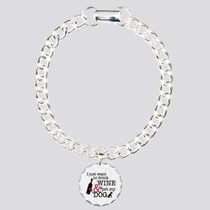 Wine And Dog Charm Bracelet, One Charm