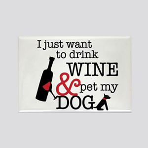 Wine And Dog Rectangle Magnet Magnets