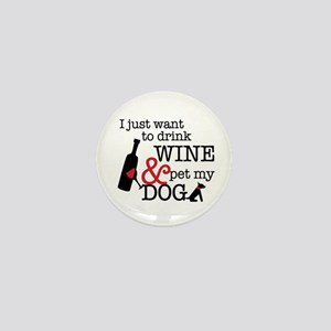 Wine And Dog Mini Button