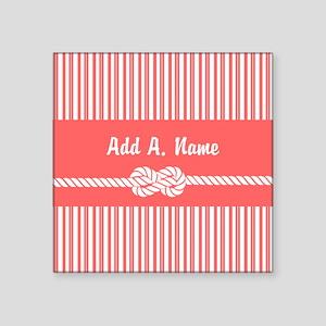 """Coral and White Stripes Per Square Sticker 3"""" x 3"""""""