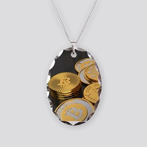Bitcoins on a table Necklace Oval Charm