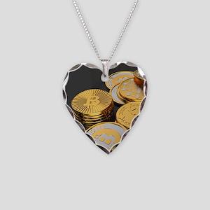 Bitcoins on a table Necklace Heart Charm