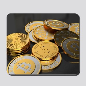Bitcoins on a table Mousepad