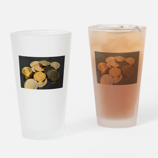 Bitcoins on a table Drinking Glass