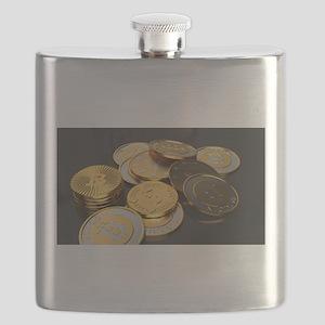 Bitcoins on a table Flask