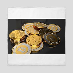 Bitcoins on a table Queen Duvet