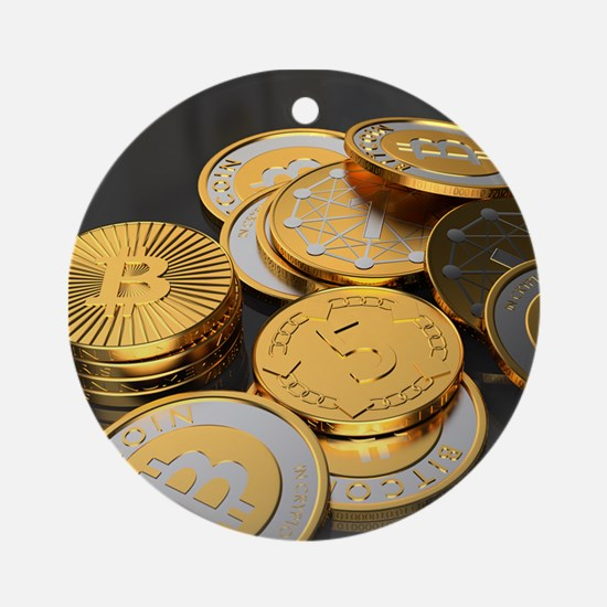Bitcoins on a table Ornament (Round)