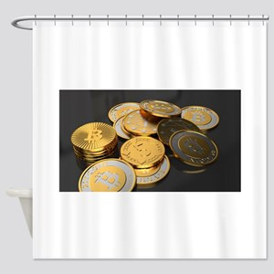 Bitcoins on a table Shower Curtain