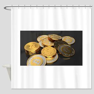 Bitcoins on a table Shower Curtain