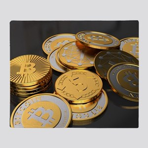 Bitcoins on a table Throw Blanket