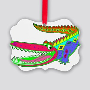 Festive Fiesta Crocodile Picture Ornament