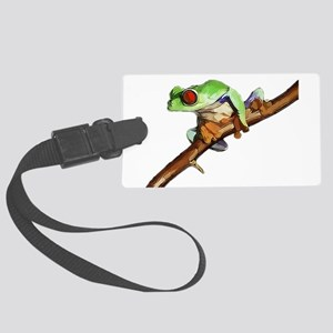 Curly Tree Frog Riding a Twig Large Luggage Tag