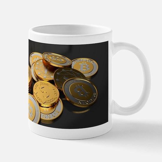 Bitcoins on a table Mugs