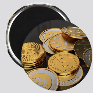Bitcoins on a table Magnets