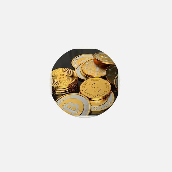 Bitcoins on a table Mini Button